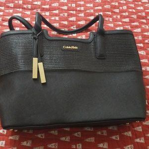 Calvin Klein all black and gold purse
